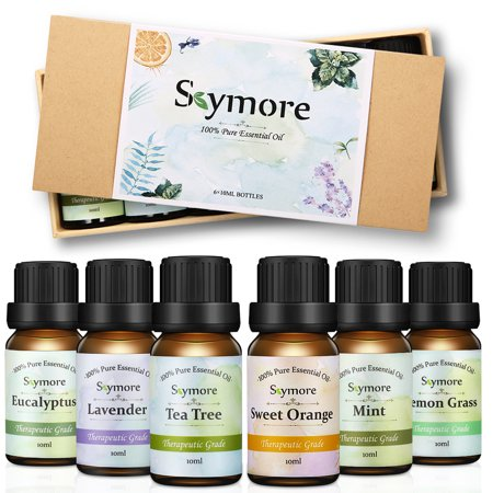 Skymore Top 6 Essential Oils Gift Set, 100% Pure & Natural Aromatherapy Oil for Valentine's Day Gift, Therapeutic Grade-Tea Tree, Lavender, Peppermint, Eucalyptus, Lemongrass,