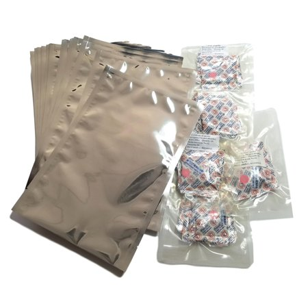 Quart Mylar Bags with 300cc Oxygen Absorbers â?? 8â? x 12â? Heat sealable Odor Proof Bag for Food Storage Dried Flowers Herbs Coffee Tea Snacks Container (50)