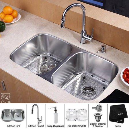 32 in 50 50 double bowl kitchen sink faucet w soap dispenser - Walmart kitchen sinks ...