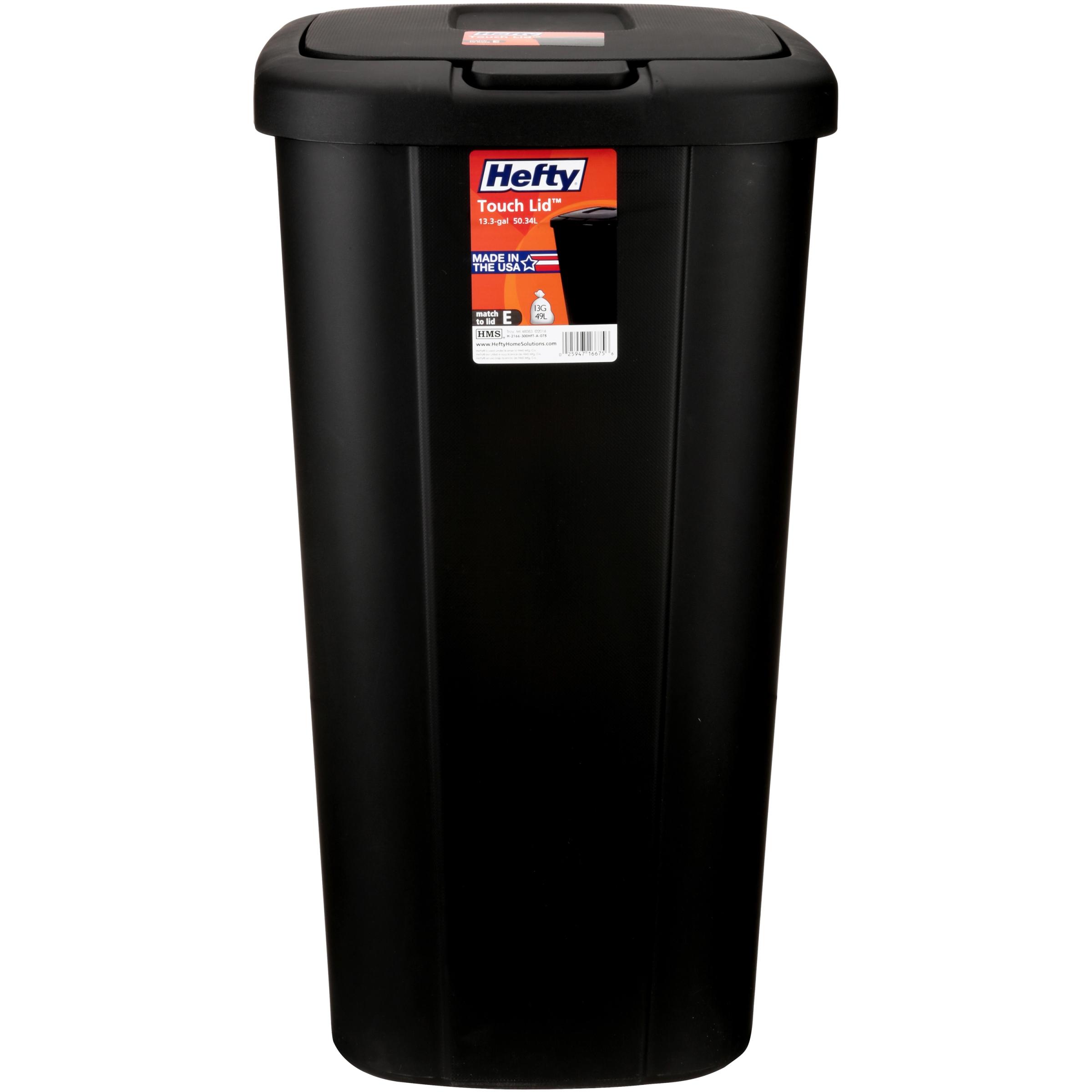 hefty trash can garbage 13 gallon bin touch lid spring loaded tall slim narrow ebay. Black Bedroom Furniture Sets. Home Design Ideas