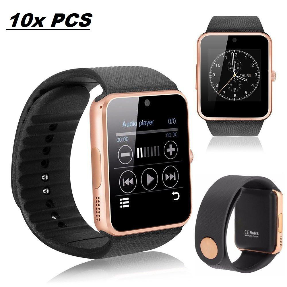10 Pack GT-08 Gold Smart Watch Wholesale Lot Touch Screen Bluetooth Smart Wrist Watch - Supports SIM + Memory Card