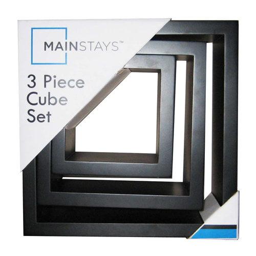 Mainstays 3pc Block Shelf Set, Black