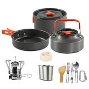 2021 NEW 3pcs/set Portable Aluminum Alloy Cookware Camping Pot Frying Pan Teapot Outdoor Supplies Picnic Stove Cooker For 2-3 People black