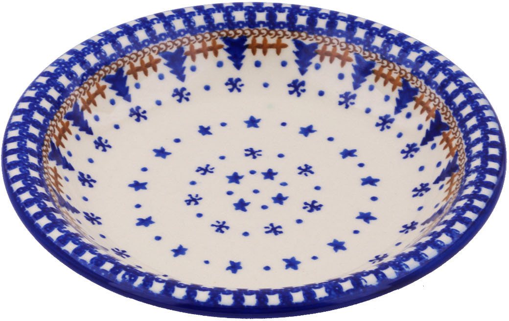 Polish Pottery 9-inch Pasta Bowl (Winter Snow Theme) Hand Painted in Boleslawiec, Poland + Certificate of... by Ceramika Bona