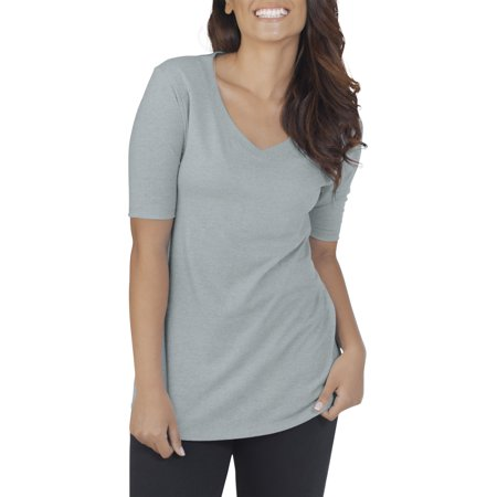 Fruit of the Loom Women's Athleisure Essentials Soft Elbow Length V-Neck T -