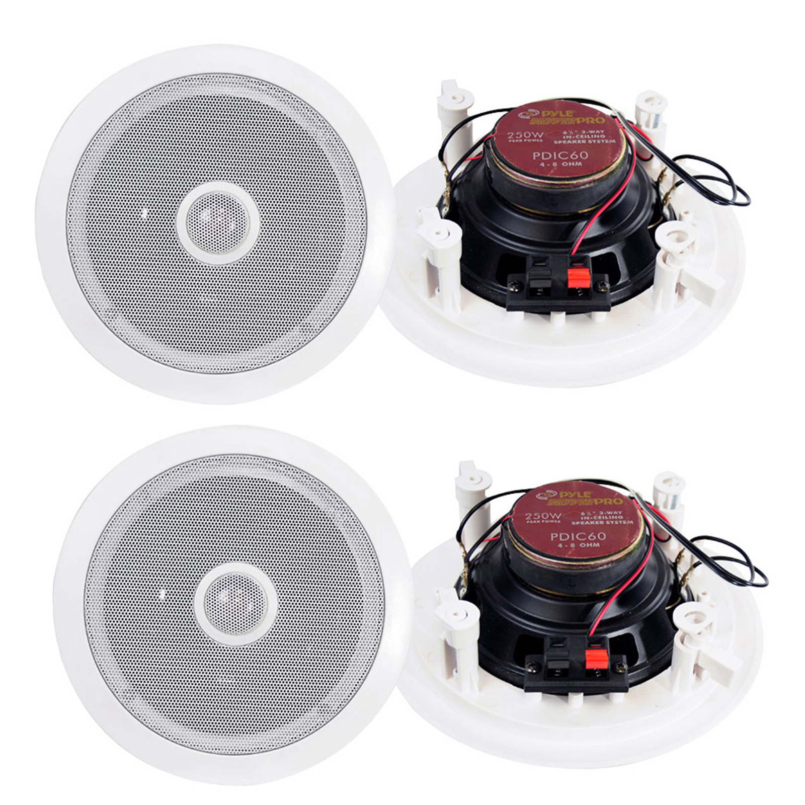 Pyle Home 250-Watt 6.5-Inch Two-Way In-Ceiling Speaker System (Pair)