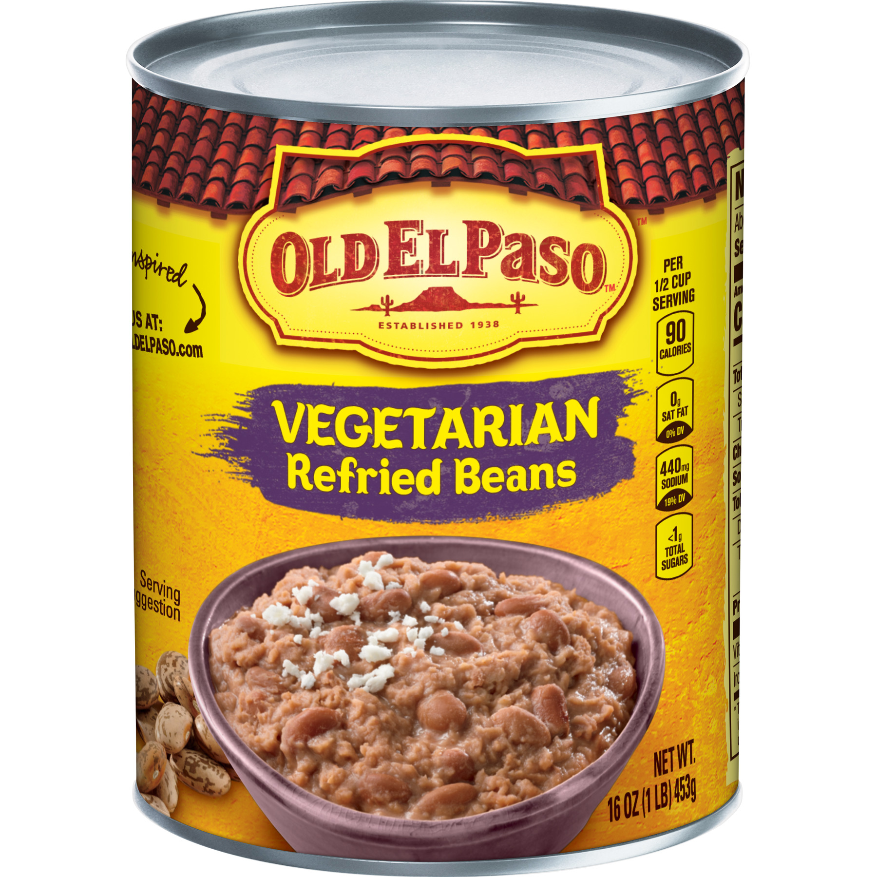 Old El Paso Vegetarian Refried Beans, 16 oz Can