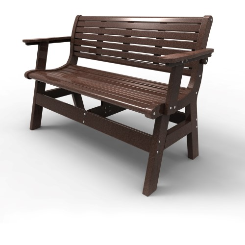 Bench with Back and Arms by Malibu Outdoor - Newport, Dark Brown 48''