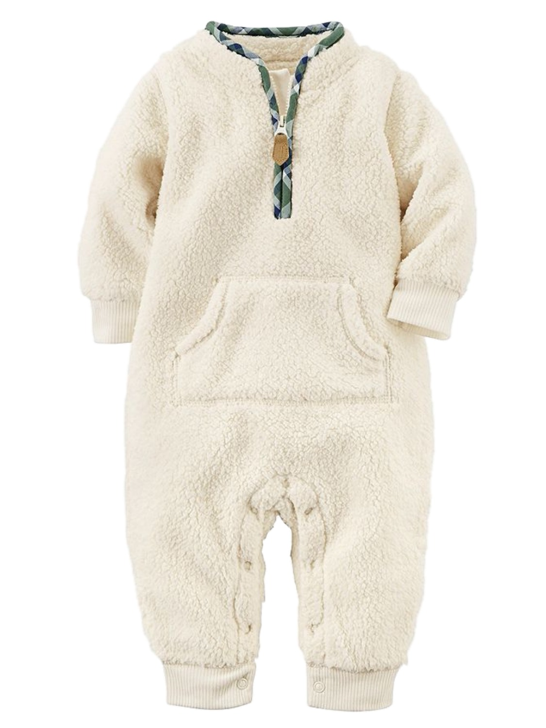 Carters Infant Boys White & Green Shepa Fleece Jumpsuit Coverall Baby Outfit