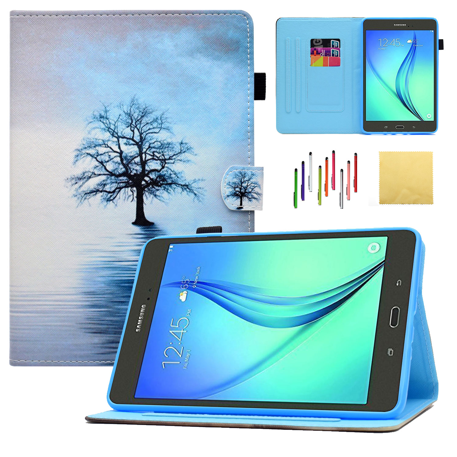 Galaxy Tab A 8.0 (SM-T350/P350) Case, Goodest Smart PU Leather Folio Folding Stand Cover with Pencil Holder Auto Wake/Sleep for Samsung 8 inch Tablet [NOT Fit 2017 Tab A 8.0 SM-T380], Water Cat