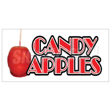 CANDY APPLES Concession Decal caramel apple signs cart trailer stand sticker](Caramel Apples Halloween)