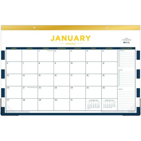 Blue Sky, BLS103628, Day Designer Navy Stripes Desk Pad, 1 Each,