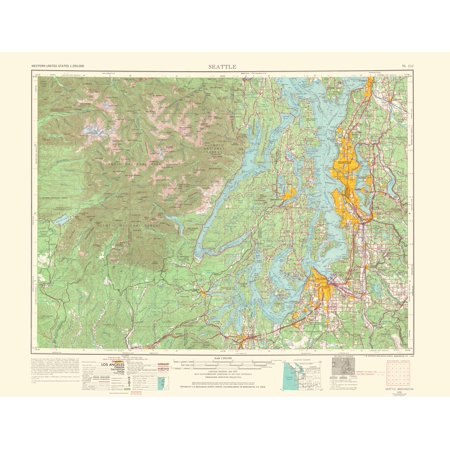 Topographical Map Print Seattle Washington Usgs 1966 23 X