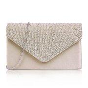 HDE Women Satin Diamante Evening Bag Clutch Purse Party Prom Ladies Handbag