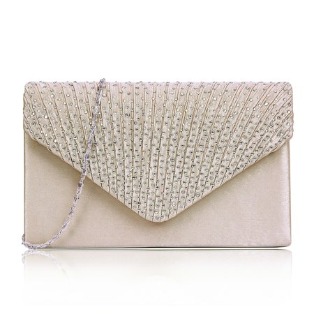 HDE Women Satin Diamante Evening Bag Clutch Purse Party Prom Ladies Handbag