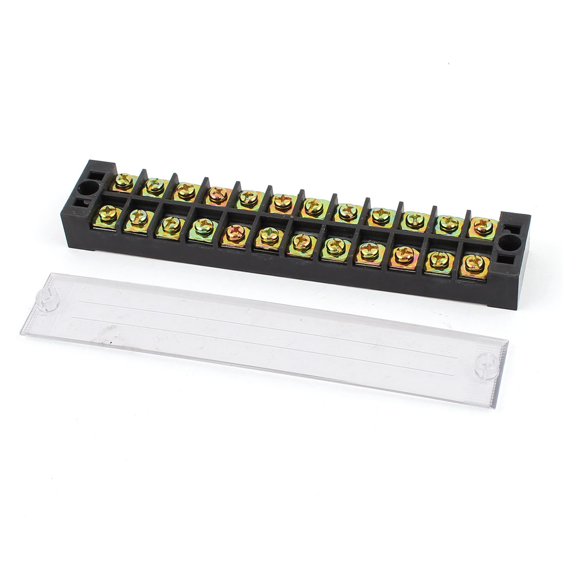 Unique Bargains 600V 25A 2 Rows 12x2 Positions 24P Barrier Terminal Wiring Board Block w Cover