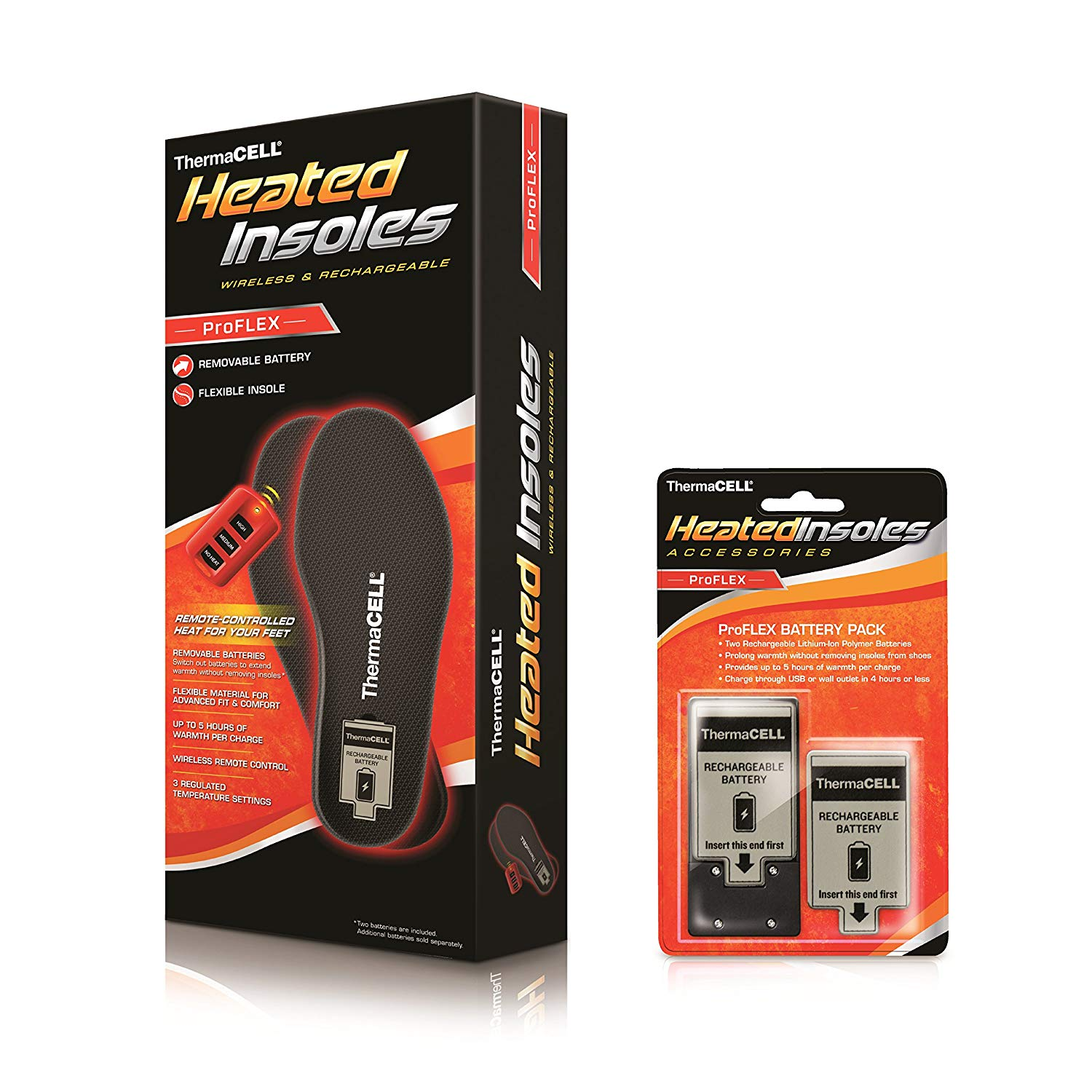 ThermaCELL ProFLEX Remote-Control Heated Insoles Bundle with Extra Battery Pack,