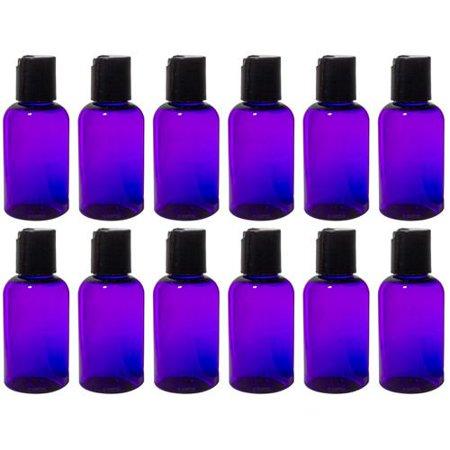 Purple 2 oz Boston Round PET (BPA Free) with Black Disc Cap Dispenser (12 Pack) + Labels (2 Ounce Dispenser Bottle)