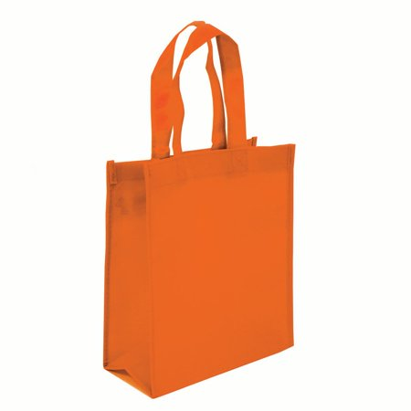 Non-woven Reusable Shopping Grocery Tote Bags, Heavy Duty Non-woven Polypropylene, Small Gift Tote Bag, Book Bag , Non Woven Bag Multipurpose Art Craft Screen Print School Bag (Set of 3, ORANGE)