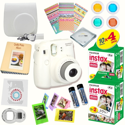 "Fujifilm Instax Mini 8 Camera White +  ""40"" fujifilm instax mini 8  FILM SHEETS  + MASSIVE BUNDLE for Fujifilm instax mini 8 camera"