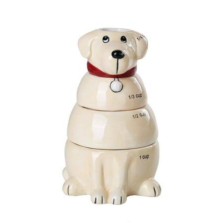 Retriever Ceramic (Lovable Labrador Retriever Ceramic Nesting Measuring Cup Set of 4 )