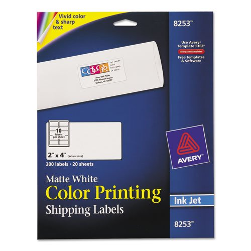 avery vibrant color printing shipping labels 2 x 4 matte white 200pack walmartcom