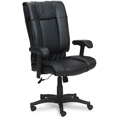 Office Star Deluxe High Back Executive Deluxe Leather Chair with Pillow Top Seat and Back, Multiple Colors