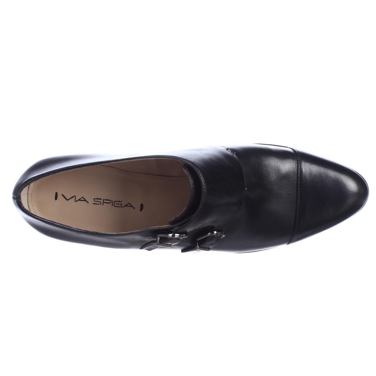 Womens Via Spiga Black, Cielo Sleek Buckle Oxfords, Black, Spiga 9.5 US 583807