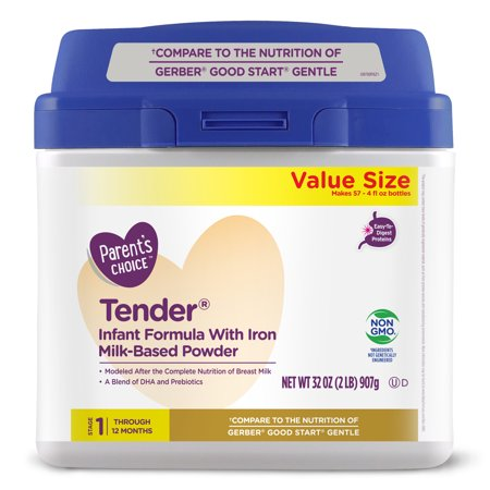 Parent's Choice Tender® Non-GMO* Infant Formula Milk-Based Powder, 32