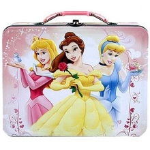 Princess Aurora Belle Cinderella Tin Box Carry All w Plastic Handle - Pink