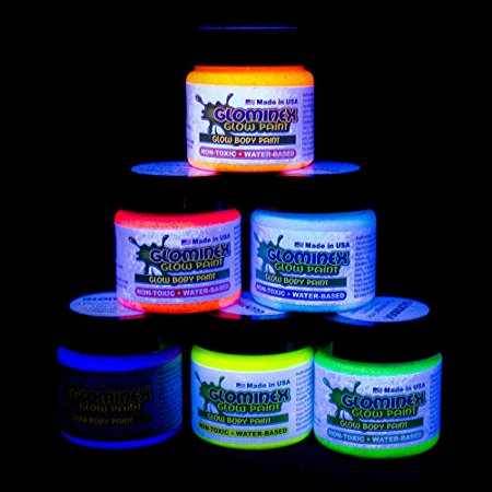 Glow In The Dark Face Paint Ideas (Glominex AH921 Glow in the Dark Body and Face Paint 1oz Jars - Assorted Colors)