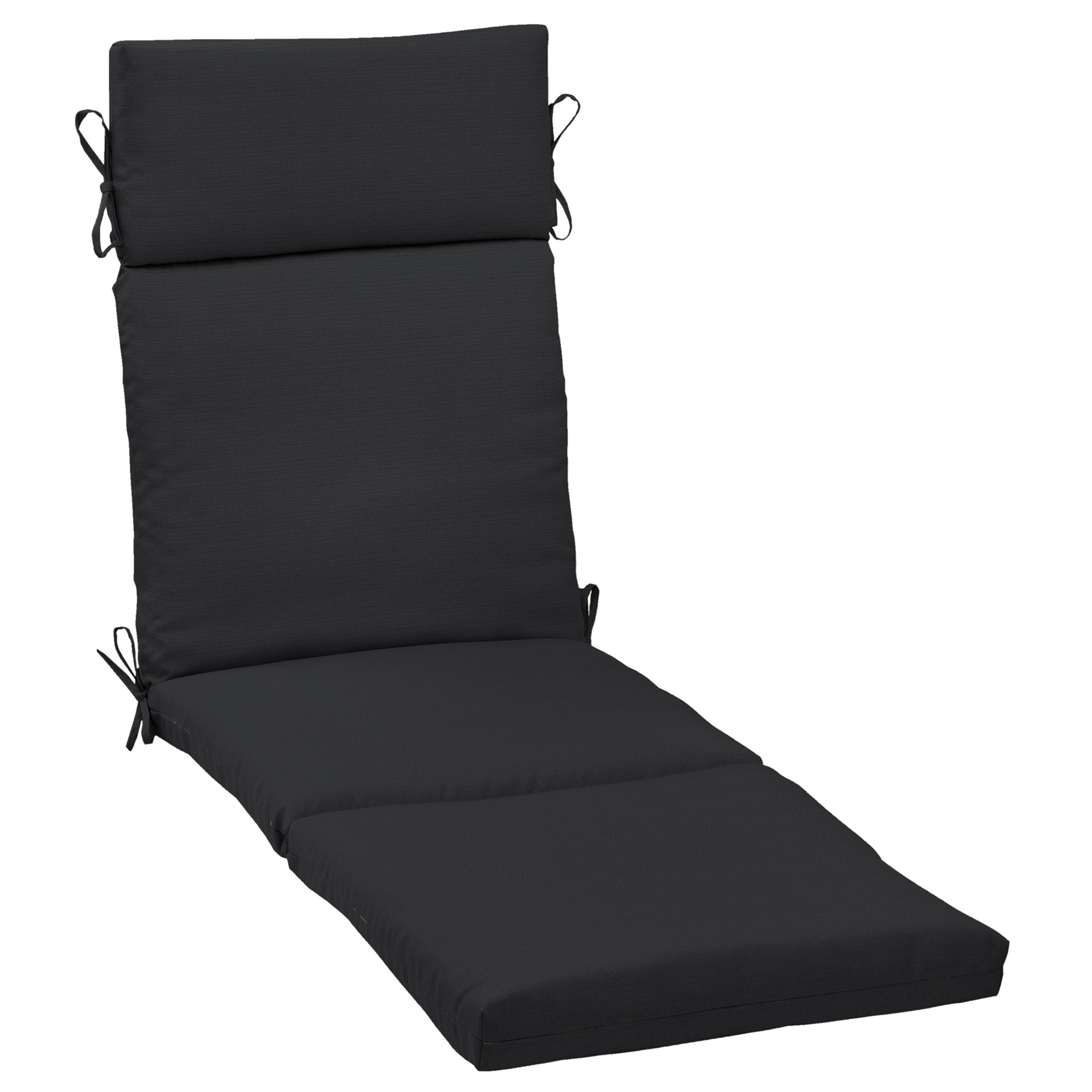 Better Homes & Gardens Black 72 x 21 in. Outdoor Chaise Lounge Cushion with EnviroGuard