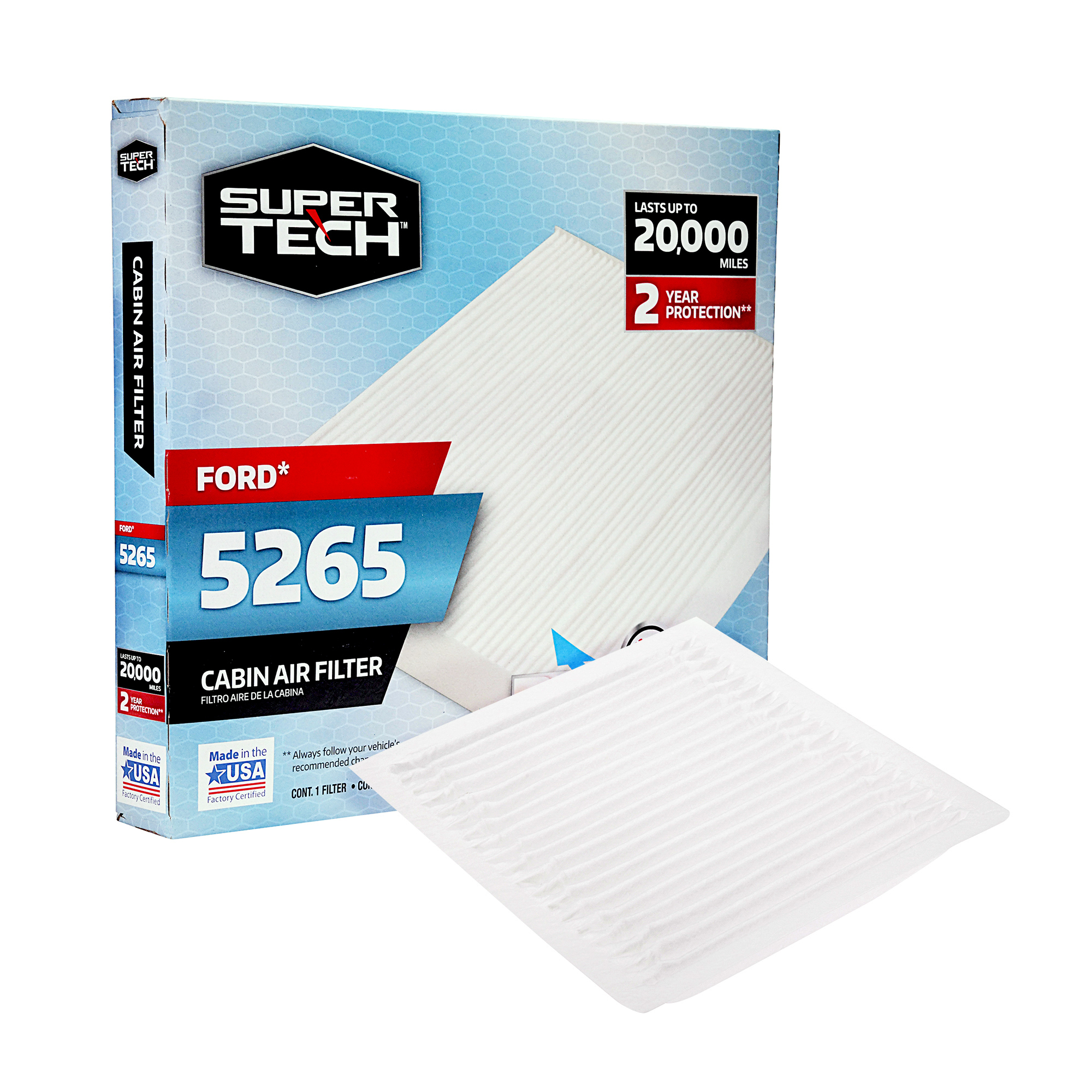 SuperTech Cabin Air Filter 5265, Replacement Air/Dust Filter for Ford