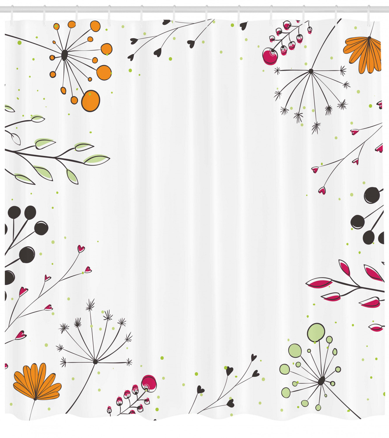 Modern Shower Curtain Floral Branches With Geometric Flowers
