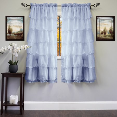 Gypsy Crushed Voile Cascading Layers 60   X 63   Window Curtain Single Panel