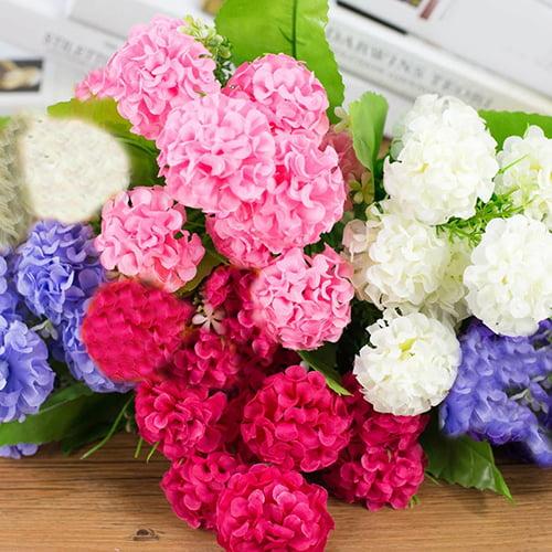 Girl12Queen 9 Heads Artificial Hydrangea Bouquet Party Home Wedding Fake Bridal Silk Flowers