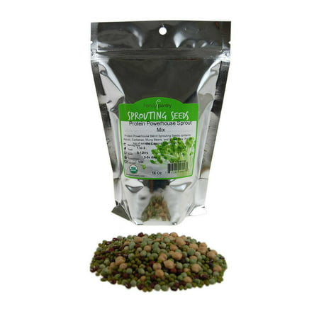 Protein Powerhouse Sprouting Seed Mix: 1 Lb - Organic, Non-GMO - Sprouting Sprouts, Food Storage. High Protien Sprouts - Pea, Mung, Green Pea, Adzuki