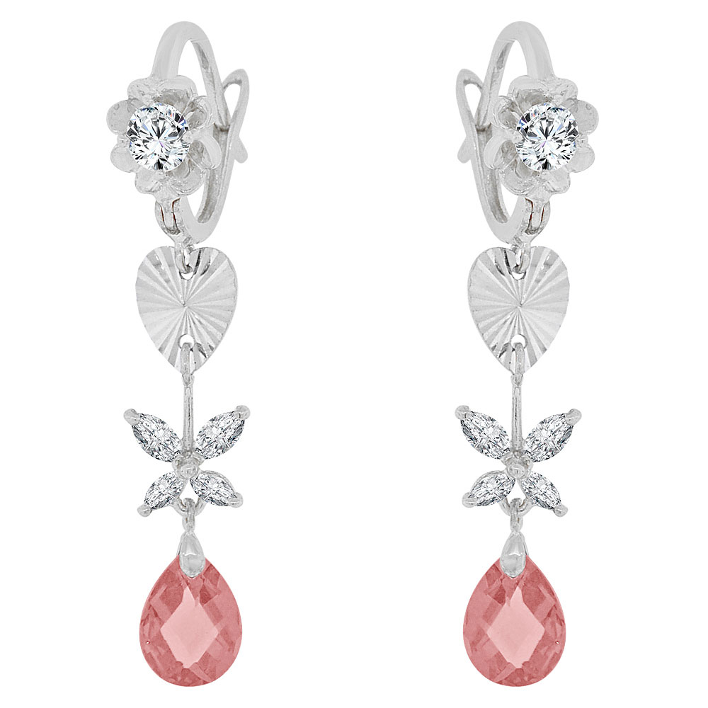 14k Gold White Rhodium, Drop Earring Hearts Flowers Created Pink Cubic Zirconia Crystals by