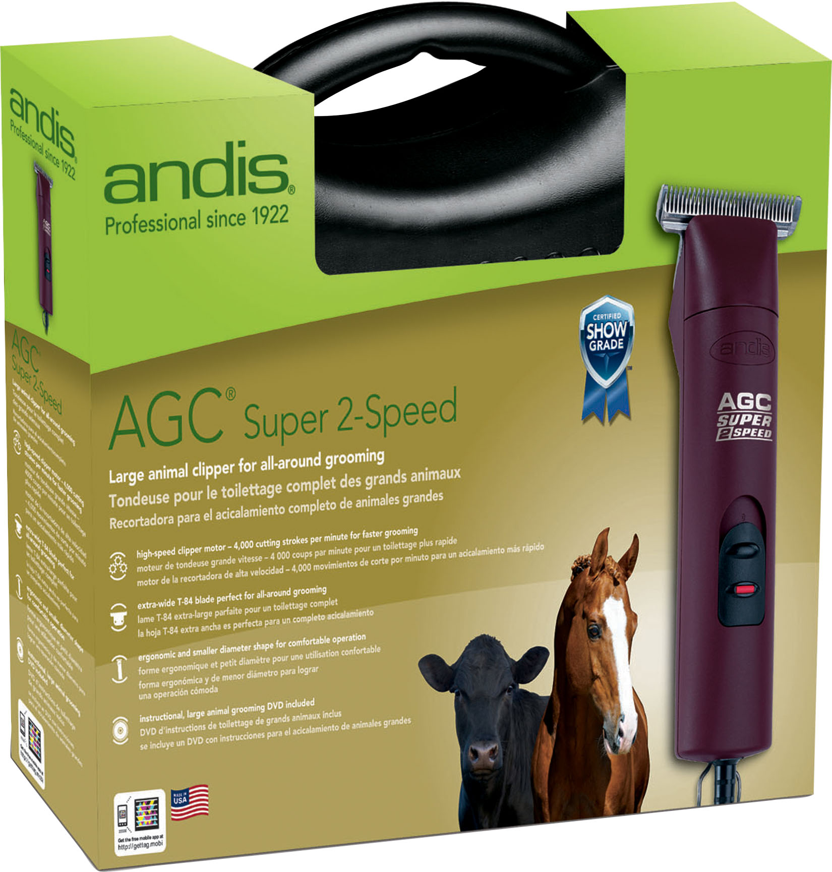 Andis Company-Agc2 Super 2-speed Horse Clipper With T-84 Blade- Burgundy 3400/4400 Spm