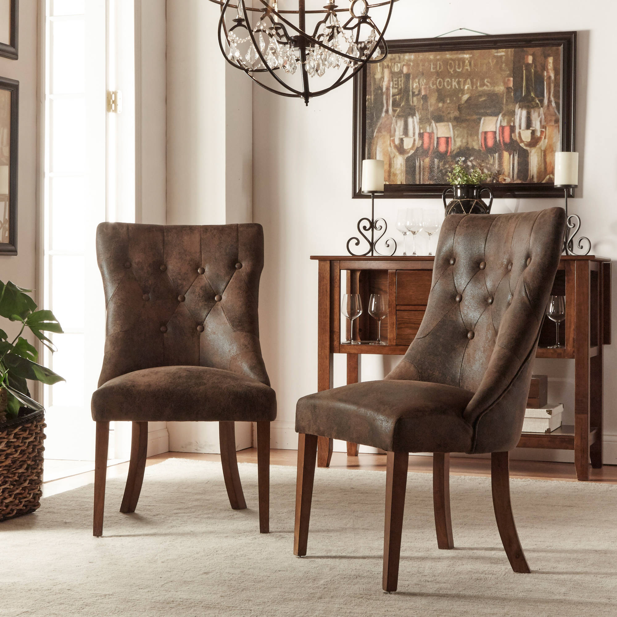 Weston Home Upholstered Tufted Side Chair Set of 2 Oak