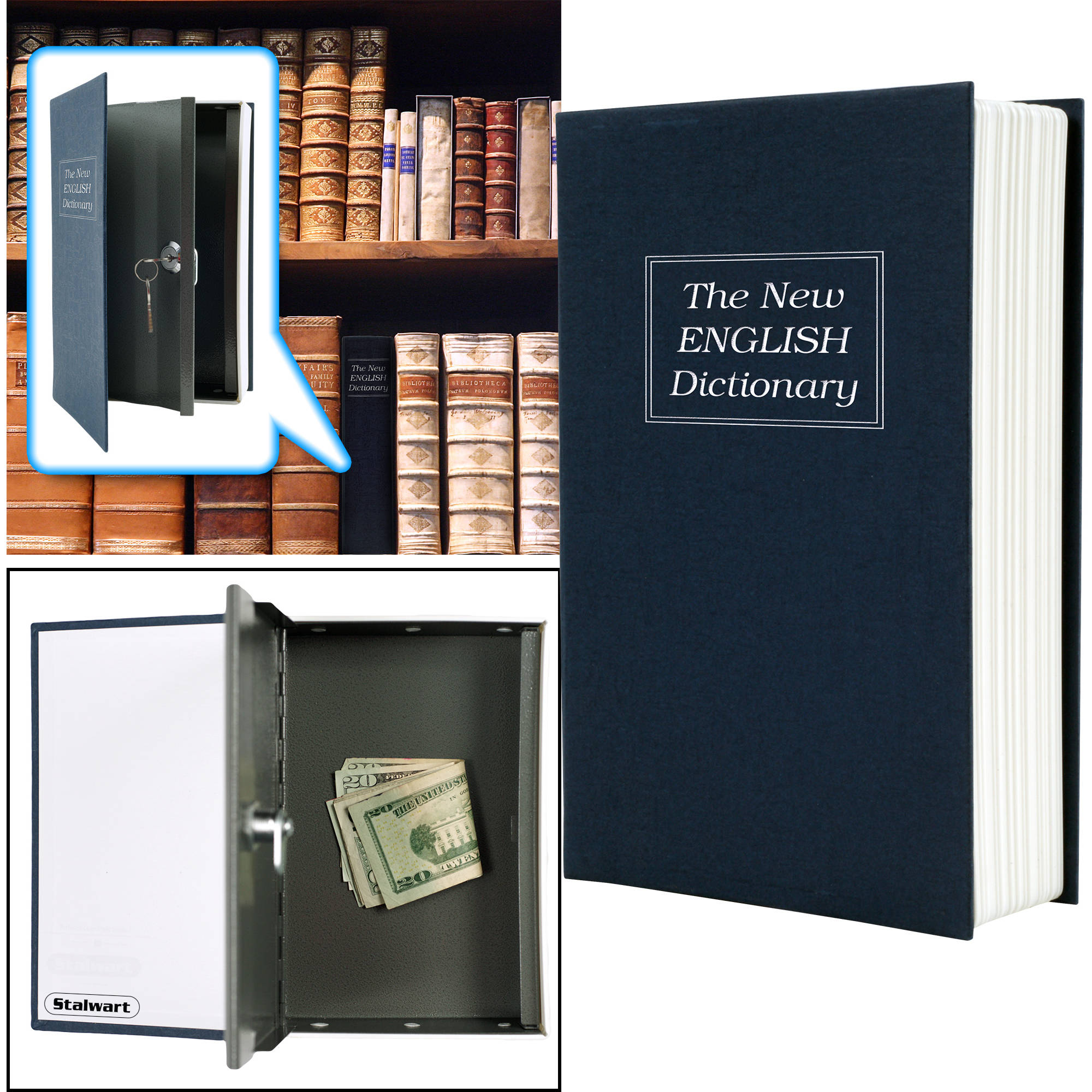 Lock Box with Key, Diversion Book Safe (Portable Safe Box, Great for Traveling, Store Money, Jewelry, and Passport) by Stalwart, Dictionary - 6 x 9 in