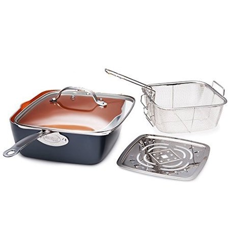 "Titanium Ceramic 9.5"" Non-Stick Copper Deep Square Frying & Cooking Pan With Lid, Frying Basket, Steamer Tray, 4 Piece Set - Graphite, Aluminum By GOTHAM STEEL"