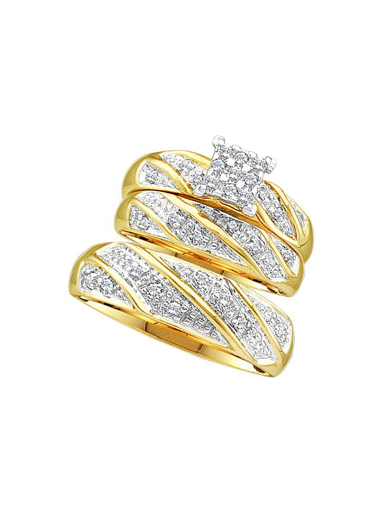 14k Yellow Gold Diamond Cluster Womens Mens Matching Trio Wedding Bridal Ring Set (.25 cttw.) size- 8.5 by