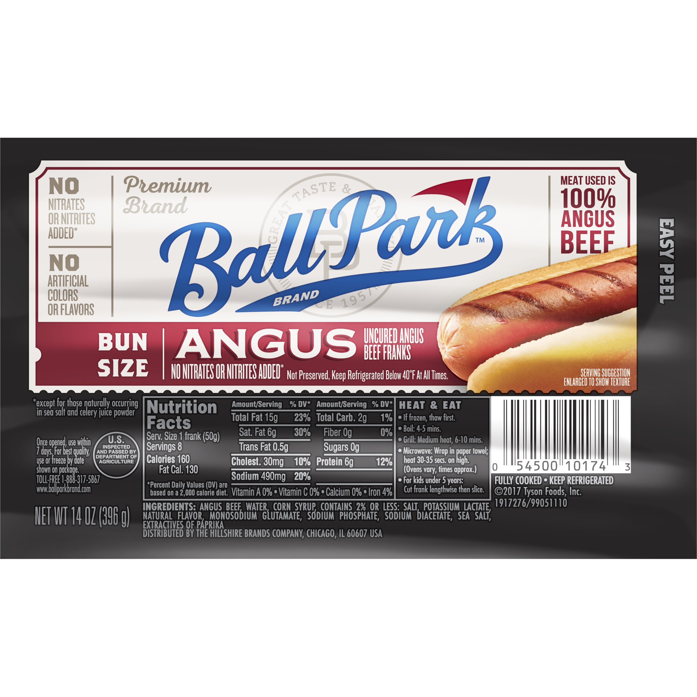 Ball Park® Angus Beef Franks, Bunsize Length, 8 Count