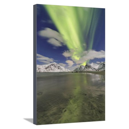 Northern Lights (Aurora Borealis) on Skagsanden Sky, Lofoten Islands, Arctic, Norway, Scandinavia Stretched Canvas Print Wall Art By Roberto Moiola