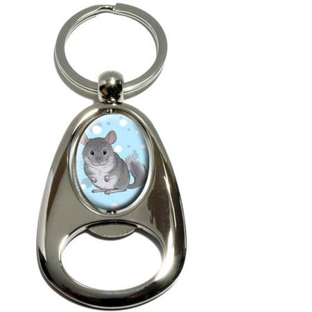 Chinchilla, Cute Pet, Chrome Plated Metal Spinning Oval Design Bottle Opener Keychain Key Ring