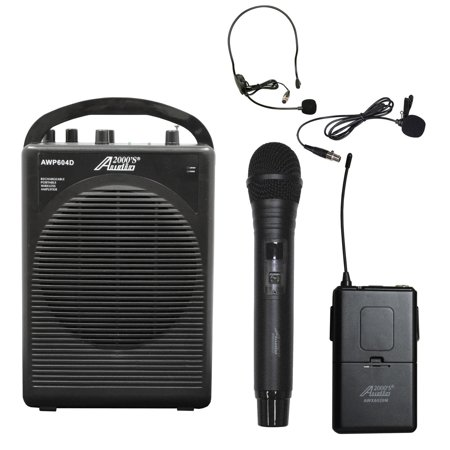 Audio2000 AWP604DL 25W Dual Channel Combo Wireless Microphone Battery Powered PA System with Handheld, Headset & Lapel Mics