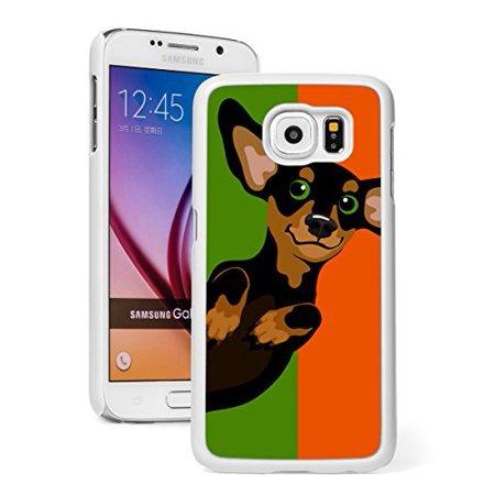 Samsung Galaxy (S6 Active) Hard Back Case Cover Cute Dachshund Pop Art (White) ()