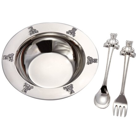 1 X Silverplated Baby Bear Bowl, Spoon, Fork Set by Elegance Silver, Buy Now with Goldia Price Match Guarantee! By Goldia,USA