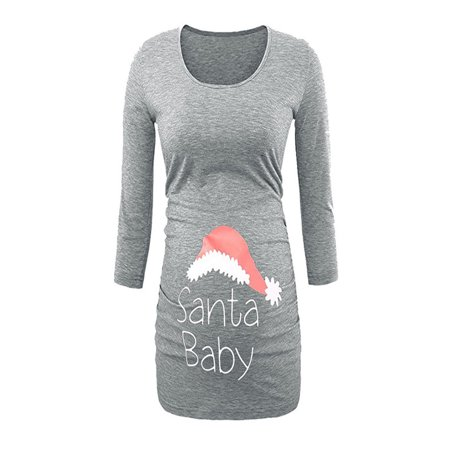 Maternity Christmas Dress.Women S Print Christmas Side Ruched 3 4 Sleeve Maternity Top Pregnancy Clothes